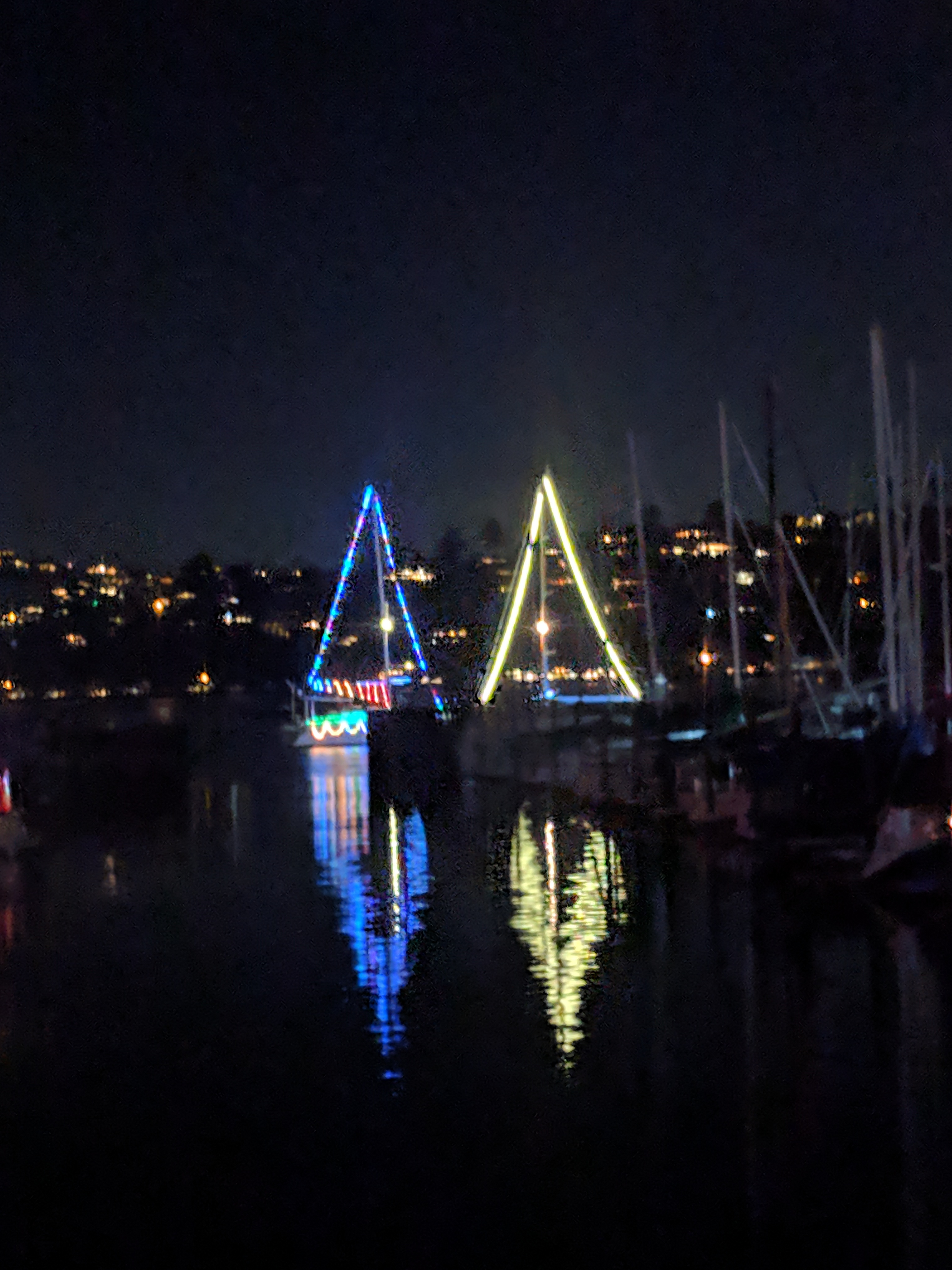 sailboats decorated with holiday lights, with lights reflected in the water