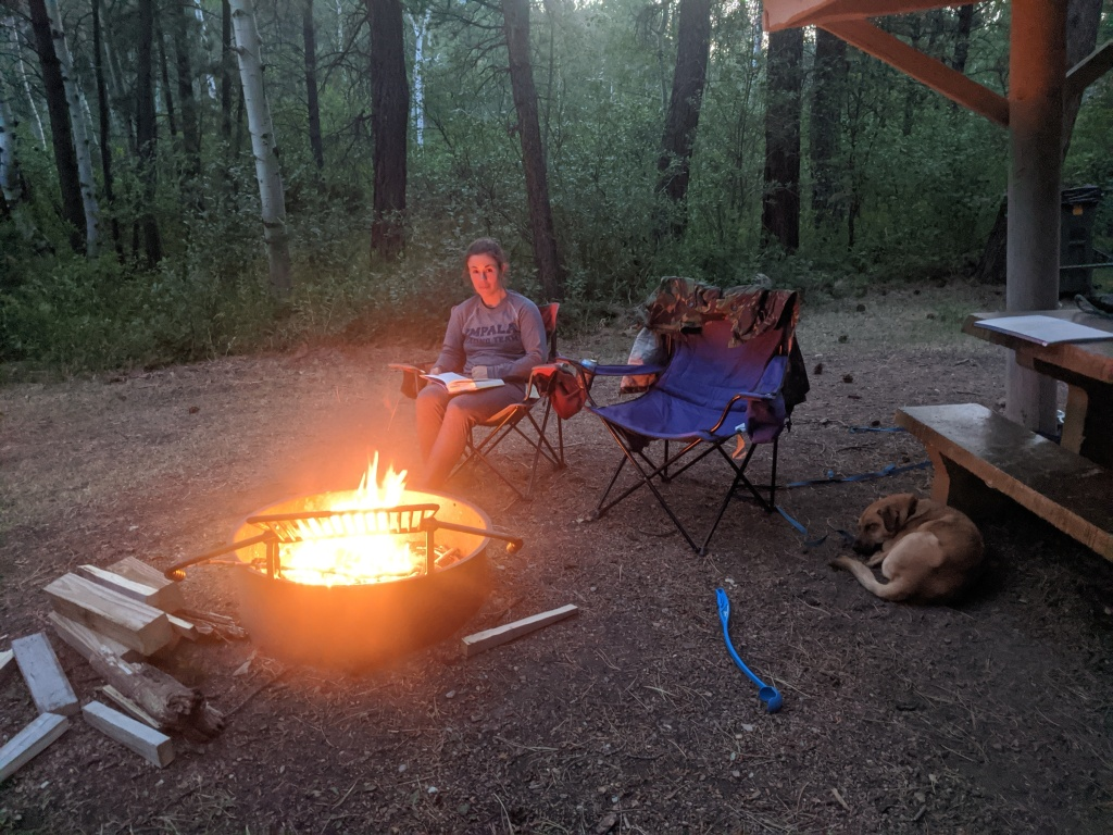 Me sitting in a camp chair reading a book, next to a campfire, with dog resting nearby